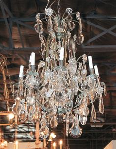 19th Century French Bronze and Crystal Chandelier   From a unique collection of antique and modern chandeliers and pendants  at https://www.1stdibs.com/furniture/lighting/chandeliers-pendant-lights/