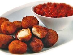 Get Deep-Fried Bocconcini with Spicy Tomato and Garlic Chutney Recipe from Food Network