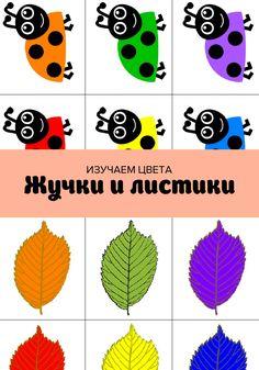 """Изучаем цвета вместе с бесплатной развивающей игрой """"Жучки и листики"""". Распечатайте жуков и листики и попросите ребенка сопоставить их по цвету."""