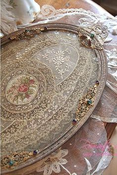 berengia:  Exquisite antique Normandy lace jeweled vanity tray