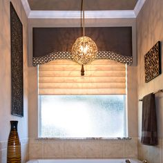 Ideas Bathroom Window Treatments Over Tub Valances Bathroom Window Treatments, Valance Window Treatments, Bathroom Windows, Custom Window Treatments, Window Coverings, Window Toppers, Custom Windows, Curtain Designs, Curtains