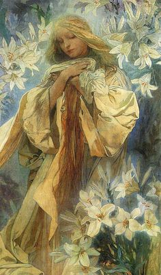 Alphonse Mucha, Madonna of the liles (detail), 1905.