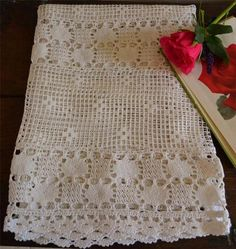 Lovely antique hand crochet lace single large antimacassar curtain cottage chic