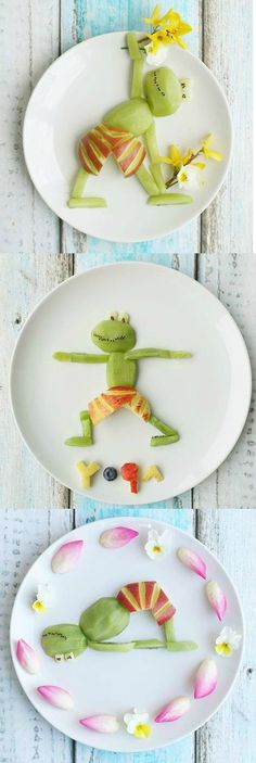 Even the pickiest of kids will want to gobble up these adorable plates of fruit inspired by yoga poses.