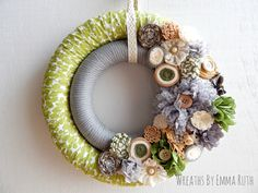 Green & Gray Neutral Double Wrapped Wreath.   Made by Wreaths By Emma Ruth