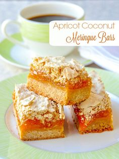 Apricot Coconut Meringue Squares – a soft cookie base, covered with sweet apricot jam and a layer of coconut meringue. Delicious with practically any favourite jam of your choice. Perfect for Holiday baking and they freeze well too!