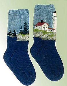 Lighthouse socks pattern by Peace Fleece