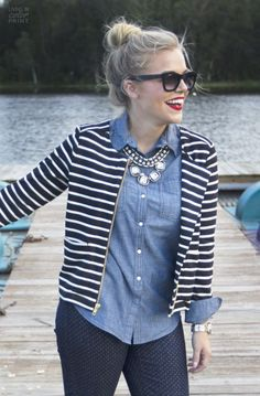 Chambray shirt Striped jacket polka dot pants