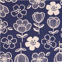 blau-naturfarbener Blumen Canvas Stoff aus Japan