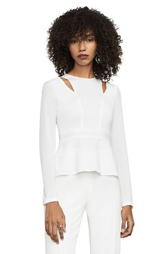 Shop the latest fashion clothes for women at BCBG. Tops Peplum, Leather Peplum Tops, Long Sleeve Peplum Top, Peplum Dress, Latest Fashion Clothes, Fashion Outfits, Lady, Black Tops, Clothes For Women
