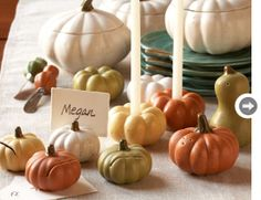 To have an additional Thanksgiving decoration indoors or outdoors, our gathered gorgeous Thanksgiving Décor Ideas is of featured natural Fall foliage and fall harvest elements. Autumn Decorating, Pumpkin Decorating, Mini Pumpkins, Fall Pumpkins, Wedding Favora, Autumn Wedding, Wedding Ideas, Fall Place Cards, Thanksgiving Decorations