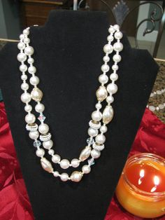 Vintage Faux Pearl and AB Crystal Necklace by ToadSuckTreasures