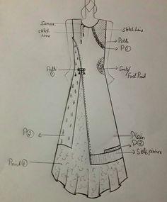 Best 12 – Page 606437906052567402 - Her Crochet Dress Design Sketches, Fashion Design Sketchbook, Fashion Design Drawings, Fashion Sketches, Dress Neck Designs, Kurti Neck Designs, Kurti Patterns, Dress Sewing Patterns, Indo Western Kurti