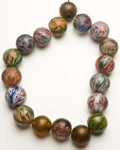 "Very large German Marble beads found in Africa made in Lauscha Germany circa 1850-? (some""onion skin types included) 35mm to 44mm 