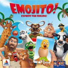 Az Emojito! egy könnyed, vicces társasjáték már 7 éves kortól.  Találd ki, játékostársad éppen mit utánoz? A meglepődött kacsát, vagy talán a mosolygós banánt?  Ebben a vidám játékban egymás után húzzuk a kártyákat, és utánozni kell a rajta lévő állatok érzelmeit, attól függően, hogy melyik szimbólumon állunk:  - csak arckifejezések használhatóak;  - csak hangok adhatók ki (ilyenkor a többi játékos becsukja a szemét);  - vagy arckifejezés és/vagy hangok is kiadhatóak. Frosted Flakes, Feelings, Products, Games, Facial Expressions, Sad, Pigs, Cherries, Cards