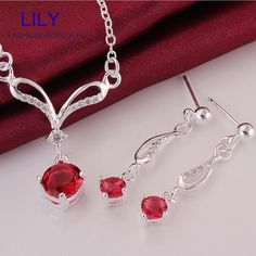 S719 A New Design Christmas Gifts Red Jewelry Sets Statement Necklace Set 925 Silver Ruby Necklaces + Earrings Jewellery-in Jewelry Sets from Jewelry ...