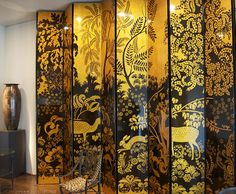 The famous gilt and lacquered screen from Jeanne Lanvin's dining room is nearly 11 feet high, and was designed by Armand Albert Rateau, circa 1921. (Lynne Rutter)