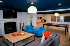 Basement hangout. @Mindy Sinzheimer, I want to paint the ceiling. Can I do it on the dropped ceiling portion as well? Hmmmm.
