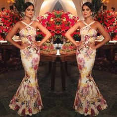 Thassia Naves - floral fishtail gown