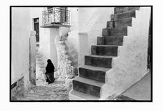 A Greek Portfolio Nonbook Prints, The Woman In Black, Photo Deco, Black Figure, Magnum Photos, Street Photography, Stairs, Black And White, Artwork, Prints