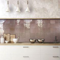 Kitchen Cabinet Styles, Kitchen Redo, Kitchen Tiles, New Kitchen, Kitchen Remodel, Kitchen Wall Tiles Design, Pink Kitchen Walls, Pink Tiles, Kitchen Interior
