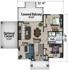 Two Bedroom Northwest House Plan - floor plan - 938 sf, like but higher ceiling Architectural Design House Plans, Architecture Design, Large Kitchen Island, Open Layout, Home Upgrades, Small House Design, Modular Homes, Cottage Living, Small House Plans