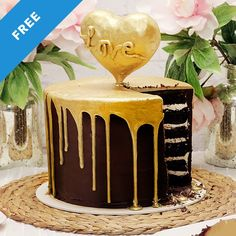 Skill level: Newb Make your Valentine's heart melt with this golden drip cake! Create yummy salted caramel filling, decadent chocolate cake and delicious ganache all topped by a dazzling drizzle of gold. Anyone can make this cake!