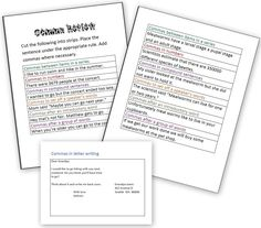 Comma Review Worksheets
