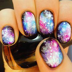 adifferentshade #nail #nails #nailart (galaxy painting diy nail polish) New Nail Art, Cute Nail Art, Beautiful Nail Art, Easy Nail Art, Cute Nails, Pretty Nails, Nail Art Designs 2016, Cute Nail Designs, Awesome Designs
