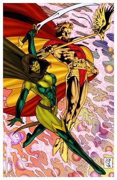 Adam Warlock with Gamora Marvel Comics Comics Love, Marvel Comics Art, Marvel Comic Books, Comic Book Characters, Marvel Characters, Warlock Marvel, Gamora Marvel, Adam Warlock, Superhero Images