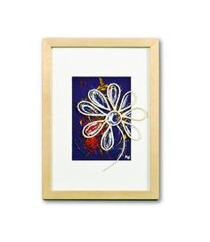 Rope Flower Collage Painting In Frame by Natalia Madunicka on Etsy  #art #painting #mixed #flower #collage # gift #present #colourful #decoration #original