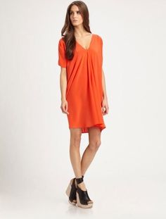 VINCE CORAL V-NECK DOLMAN SLEEVE SILK DRESS SZ.XS-NEW WITH TAG #VINCE #Shift