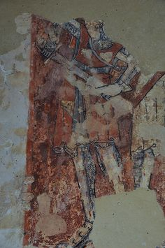 South Newington St Peter Ad Vincula church wall paintings on north wall martyrdom of St Thomas a Becket c1330 -18