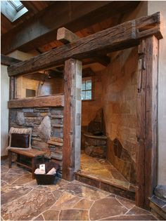 If you lived in a converted barn, this would be the ideal shower. I love the rustic design, but it needs to fit the house. Big Springs at Tahoe by High Camp Home Design of Truckee, CA.