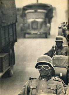 Waffen SS column on the move. Western front, 1940.