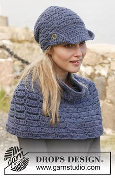 "Hat and wrap set: Crochet DROPS hat with brim and neck warmer in ""Nepal"". ~ DROPS Design"