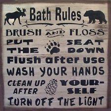 Cabin Bath Rules Country Rustic Primitive Sign Home Decor