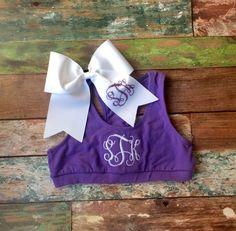 Monogram Sports Bra and Glitter Monogram Cheer bow #monogrammed #cheer by PoshPrincessBows1