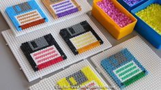 Retro floppy coasters hama perler beads by Rachel - Mes Petits Bonheurs