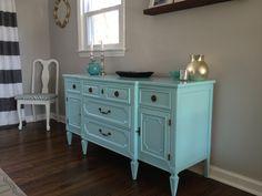 Buffet Makeover, painted furniture, blue buffet, paint, DIY