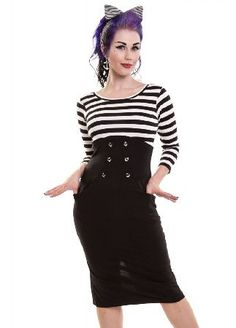 Rockabella Star Board Dress - Size: M D-SBOARD-BW The Star Board Dress is a fun vintage-inspired wiggle dress by Rockabella. It has a stripy sailor top with 3/4 length sleeves and a contrasting black knee length skirt that hugs your curves. There are http://www.MightGet.com/february-2017-3/rockabella-star-board-dress--size-m-d-sboard-bw.asp