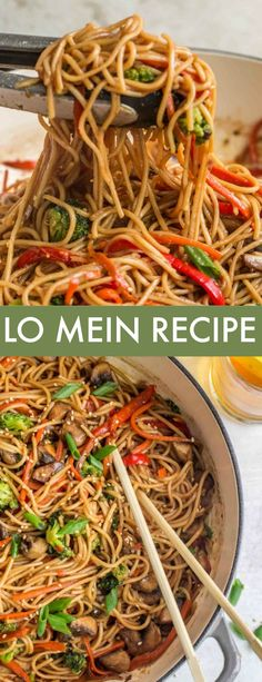 Vegetable Lo Mein Recipe – Valentina's Corner This Vegetable Lo Mein Recipe is prepared in just 15 minutes! Soft egg noodles loaded with mushrooms, broccoli, pepper and carrots in a flavor-packed sauce. Asian Noodle Recipes, Easy Chinese Recipes, Vegetable Recipes, Asian Recipes, Beef Recipes, Vegetarian Recipes, Cooking Recipes, Healthy Recipes, Vegetable Lo Mein