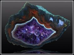 A very beautiful amethyst and agate geode.