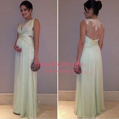 Long Prom Dress, Champagne Prom Dre | White maternity dresses ...