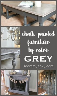 Chalk Painted Furniture by Color Series - GREY chalk painted furniture projects… Chalk Paint Colors Furniture, Gray Chalk Paint, Colorful Furniture, Chalk Paint Dresser, White Chalk, Refurbished Furniture, Repurposed Furniture, Furniture Makeover, Dresser Makeovers