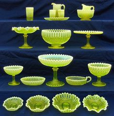 Collect Radioactive Glass? collectors take a black light along with them to test Vaseline glass, also known as canary glass or uranium glass. Real uranium glass will glow green (old color of Vaseline) under a black light. Uranium was used as a coloring agent in the late 1700s up to the present day. That's because the tiny amounts of radiation emitting from Vaseline glass are smaller than radiation emitted from many other things we encounter in our everyday lives.