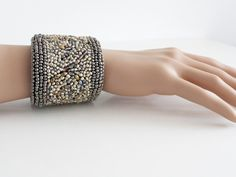 Bead Embroidered Cuff Bracelet in Gold and Bronze