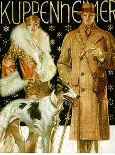 "1920's J.C. Leyendecker, Kuppenheimer Fashion Ad, Dog, ART, 20""x14"" Canvas"