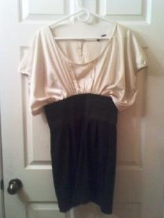 Mandees NWT Cream & Black Dolman style top Bodycon dress Size L $20.00