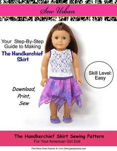"HANDKERCHIEF SKIRT 18"" DOLL CLOTHES"